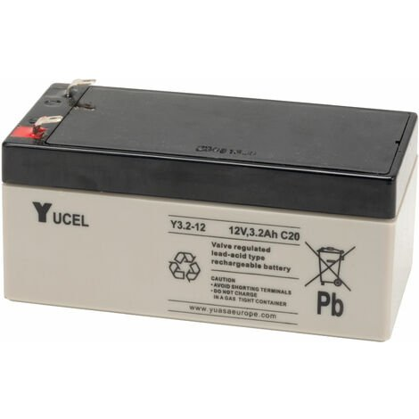 Yuasa Yucel Y3.2-12 Valve Regulated Lead Acid SLA Battery 12V 3.2Ah