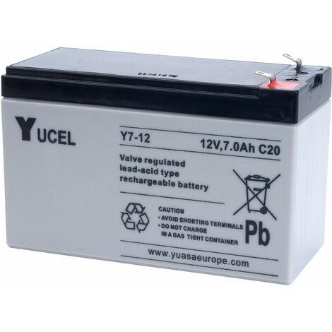 Yuasa Yucel Y7-12 Valve Regulated Lead Acid SLA Battery 12V 7.0Ah