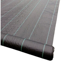 Yuzet 2m x 50m 100g Weed Control Fabric Membrane Lined Ground Cover UV Stabilised Black Heavy Duty Mulch Mat Path Drive