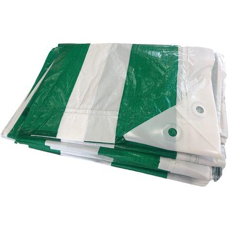 Yuzet 2m x 6m Green White Striped Heavy Duty Market Stall Tarpaulin Cover