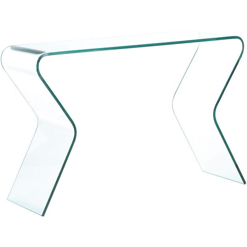 Arreditaly Consolle Salotto Soggiorno Sala da Pranzo Ingresso Tavolo in Vetro Temperato Design Moderno Elegante Curvo Luxury Z-15 Dimensioni 110 x 80 x 40 cm