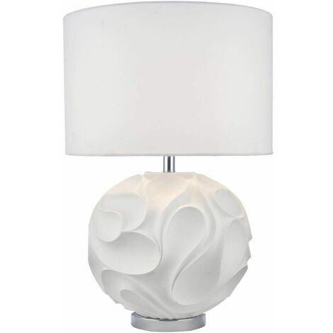 Zachary white and polished chrome table lamp