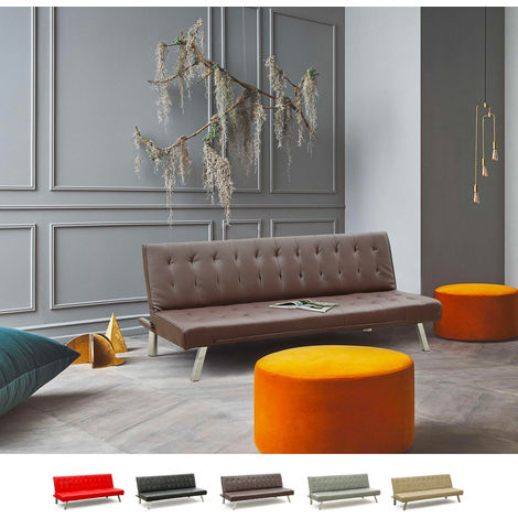 ZAFFIRO 3-Seat Sofa Bed For Living Rooms And Offices Made Of Eco Leather