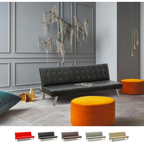 ZAFFIRO 3-Seat Sofa Bed For Living Rooms And Offices Made Of Faux Leather