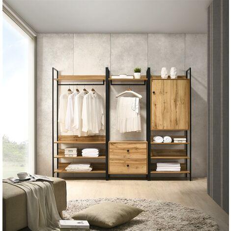 Zahra 3 Piece Bedroom Furniture Set Open Wardrobe Drawers Cabinet
