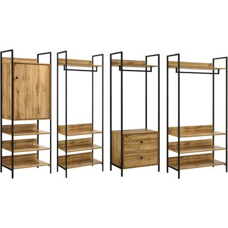 Zahra 4 Piece Bedroom Furniture Set Open Wardrobe Drawers Cabinet