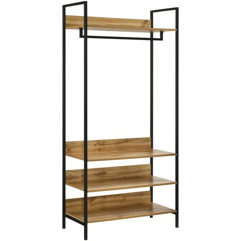 Zahra Bedroom Double Open Wardrobe 4 Shelves Furniture Storage Cupboard