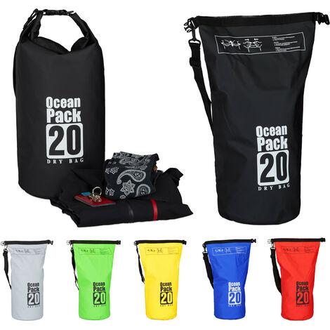 "main image of ""Zaino impermeabile Ocean Pack 20L borsa ultraleggera sacca dry bag da kajak rafting vela sci snowboard nero"""