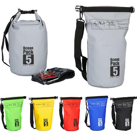 "main image of ""Zaino impermeabile Ocean Pack 5L borsa stagna ultraleggera sacca dry bag da kajak vela sci snowboard grigio"""