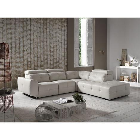 Zaira Italian Leather Corner Group Sofa Artico