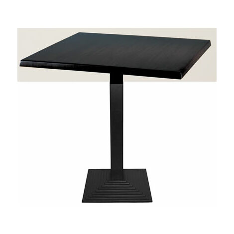 Zamon Square Dining Table With Cast Iron Square Base - Dark Wood