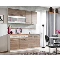 ZANTE 180 | Cuisine Complète Moderne 1,8m | 6 pcs + Plan de travail INCLUS | Ensemble meubles armoires cuisine linéaire | Chêne/Blanc
