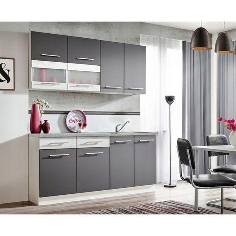 ZANTE 180 | Cuisine Complète Moderne L 1,8m | 6 pcs + Plan de travail INCLUS | Ensemble meubles armoires cuisine linéaire - Gris/Blanc
