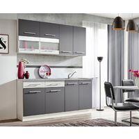 ZANTE 180 | Cuisine Complète Moderne L 1,8m | 6 pcs + Plan de travail INCLUS | Ensemble meubles armoires cuisine linéaire | Gris/Blanc