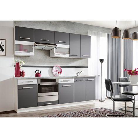 ZANTE 240   Cuisine Complète Linéare L 2,4 m 8 pcs + Plan de travail INCLUS   Ensemble Meubles Armoires de cuisine moderne - Gris/Blanc