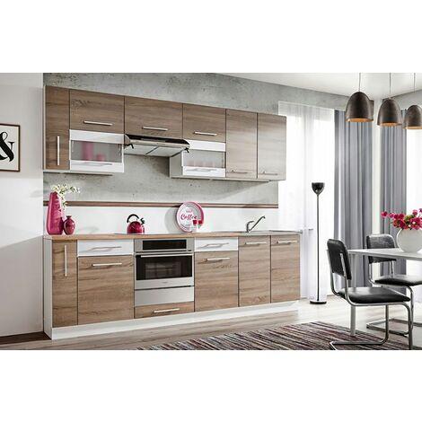 ZANTE 260 | Cuisine Complète Linéaire 2,6m | 10 pcs + Plan de travail INCLUS | Ensemble meubles de cuisine | Armoires cuisine - Chêne/Blanc