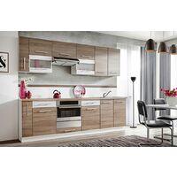 ZANTE 260 | Cuisine Complète Linéaire 2,6m | 10 pcs + Plan de travail INCLUS | Ensemble meubles de cuisine | Armoires cuisine | Chêne/Blanc