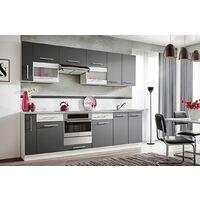 ZANTE 260 | Cuisine Complète Linéaire L 2,6m | 10 pcs + Plan de travail INCLUS | Ensemble meubles de cuisine | Armoires cuisine | Gris/Blanc