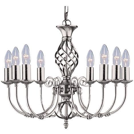 Zanzibar Satin Silver 8 Light Fitting With Ornate Twisted Column