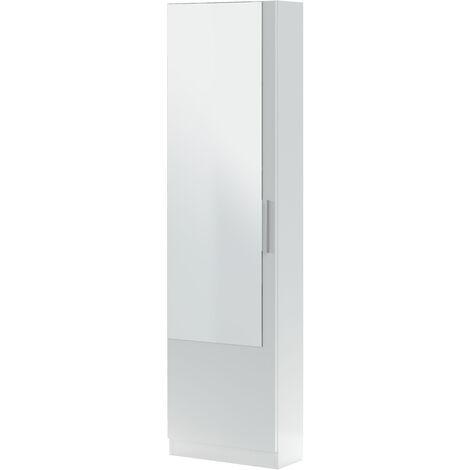 Zapatero 1 puerta + espejo Blanco Artik - 6 alturas-12varillas-