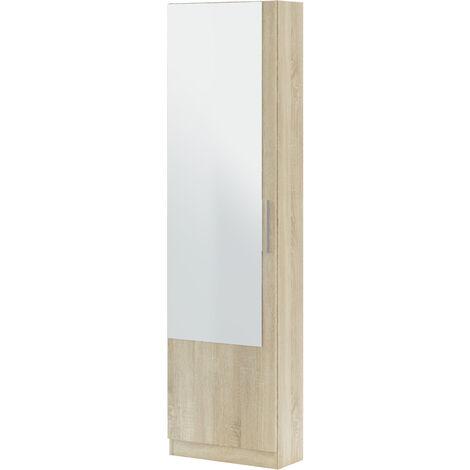 Zapatero 1 puerta + espejo Roble Canadian -6 alturas-12varillas-