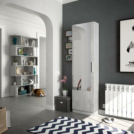 Zapatero 180 cm Cemento con puerta de espejo | Cemento