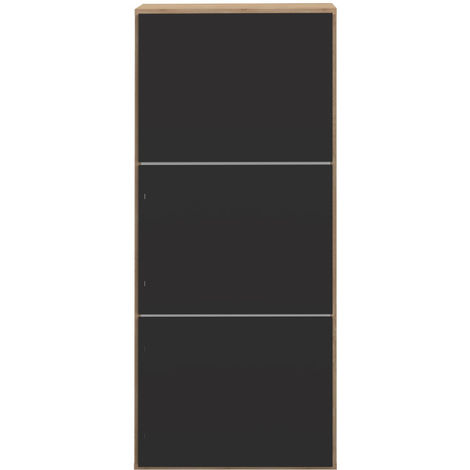 Zapatero 3 puertas negro mate y madera BOBBY
