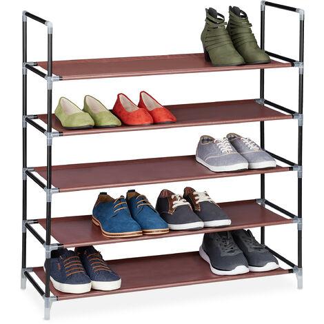 Zapatero Abierto, 5 Estantes, Estantería para 20 Pares de Zapatos, Metal, 90,5 x 87 x 29,5 cm, Burdeos