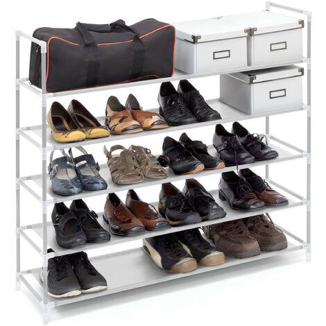 Zapatero Abierto, 5 Estantes, Estantería para 20 Pares de Zapatos, Metal y Tela, 90,5 x 87 x 29,5 cm, Blanco