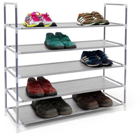 Zapatero Abierto, 5 Estantes, Estantería para 20 Pares de Zapatos, Metal y Tela, 90,5 x 87 x 29,5 cm, Gris