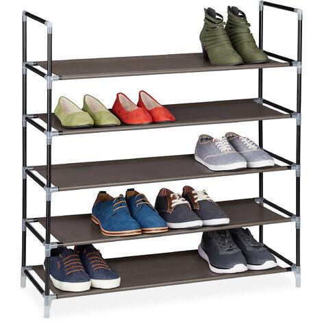 Zapatero Abierto, 5 Estantes, Estantería para 20 Pares de Zapatos, Metal y Tela, 90,5 x 87 x 29,5 cm, Marrón