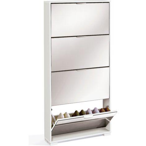 Zapatero alto con cuatro compartimentos y espejo de cuerpo entero,153x74x17 cm(alto x ancho x profundo), color blanco alto brillo, modelo Ábaco