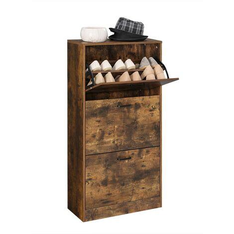 Zapatero Armario para Zapatos con 3 Niveles Color Roble/Blanco Ajustable - Entrada de Puerta Pasillo Sala de Estar Dormitorio 60 x 24 x 120cm