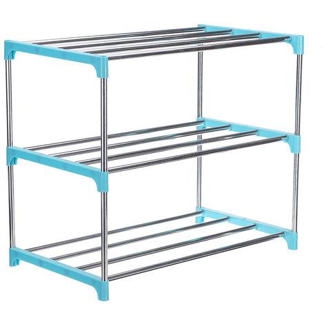 Zapatero azul de 3 niveles de acero 47cm x 26cm x 38cm LAVENTE