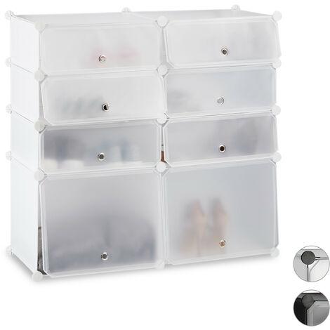 Zapatero Bajo Modular con 8 Compartimentos, Plástico, Blanco, 91 x 94,5 x 36.5 cm