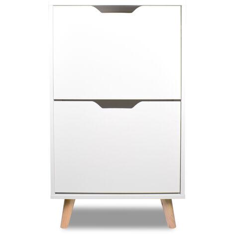 """main image of """"Zapatero blanco de diseño nórdico con 2 estantes con pies de madera de pino"""""""
