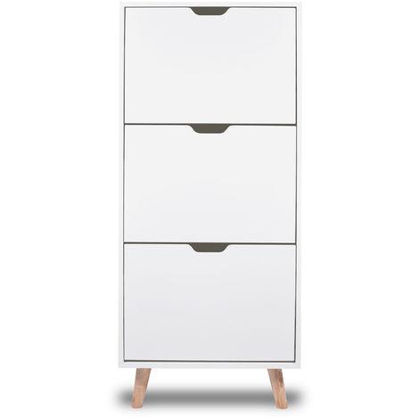 Zapatero blanco de diseño nórdico con 3 estantes con pies de madera de pino