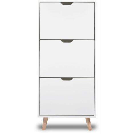 """main image of """"Zapatero blanco de diseño nórdico con 3 estantes con pies de madera de pino"""""""