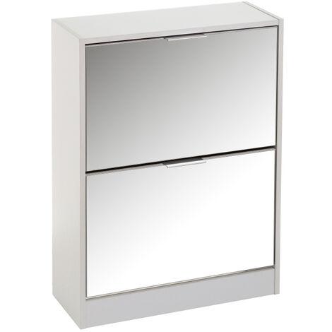 Zapatero blanco de madera y MDF con espejo de 2 puertas de 80x24x60 cm