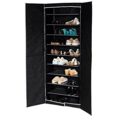 Zapatero cinco estantes negro con puertas (61x32x160)