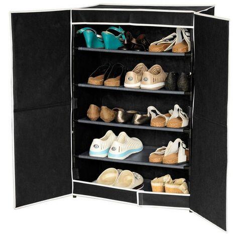 Zapatero cinco estantes negro con puertas (61x32x90)