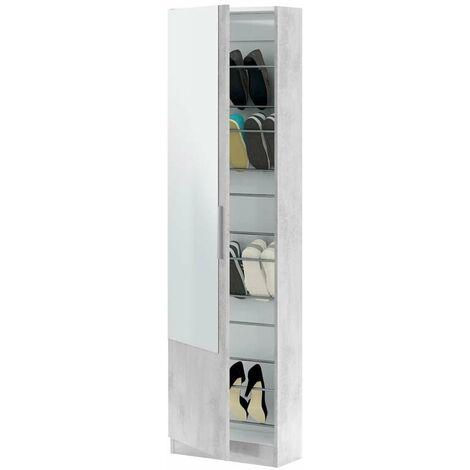 Zapatero color cemento 1 puerta espejo armario recibidor habitación entrada salón mueble 180x50x22cm