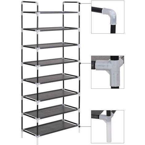 Zapatero con 8 estantes de metal y textil no tejido negro