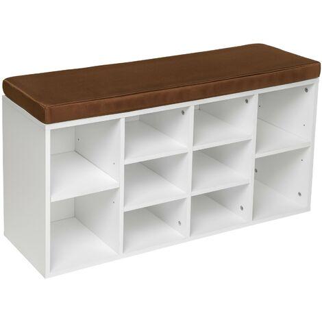 Zapatero con banco - mueble zapatero de madera, baldas encajables ajustables con asiento acolchado, estructura para guardar zapatos