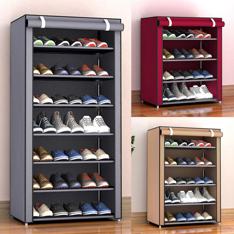 Zapatero de almacenamiento no tejido, Organizador de pasillo, 8 capas, GRIS