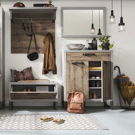 Zapatero de madera de diseño moderno estilo industrial HARBOR