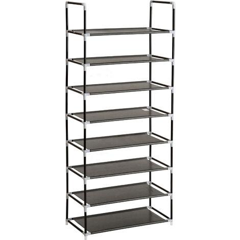 Zapatero estantería con 8 estantes - mueble zapatero con bandejas, baldas encajables impermeables con barras de acero, estructura para guardar zapatos - negro