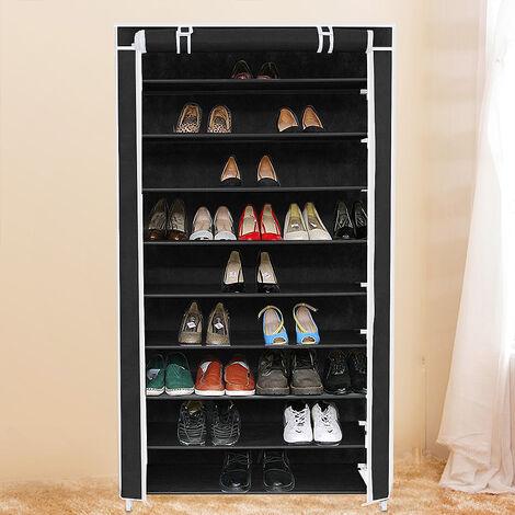 Zapatero estantería con 9 estantes - para 36 pares de zapatos 88x28x160cm negro