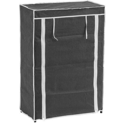 Zapatero gris de tela con 5 baldas de 88x30x60 cm
