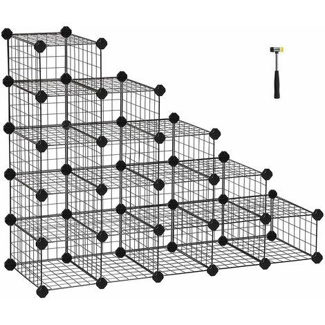 Zapatero Modular con 15 16 Cubos, Rejilla de Alambre de Metal, Estantería de Almacenamiento de Bricolaje, Organizador de Zapatos de Enclavamiento para el Dormitorio vestíbulo Negro LPI44HS